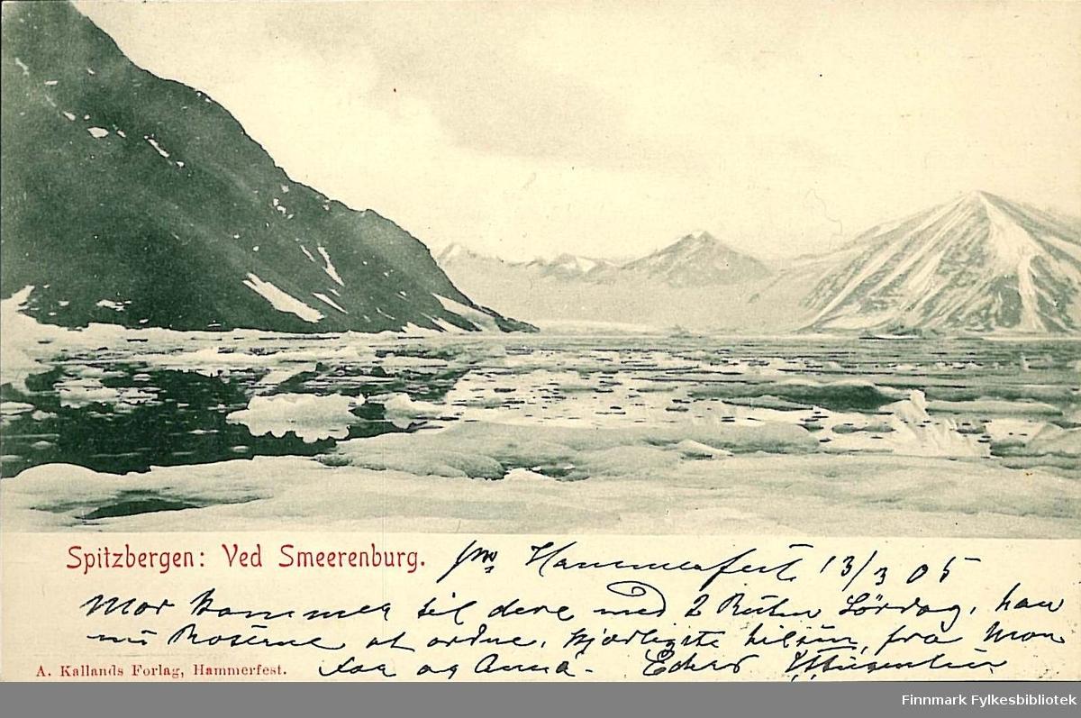 Postkort med motiv fra Smeerenburg på Spitsbergen. Kortet er en hilsen til Arthur Buck på Hasvik og er sendt i mars 1905.