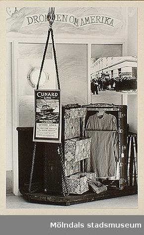 Amerikakoffert, Olas stuga, Lindomesnickeriet och Arbetarkök. Dessa var en del av Mölndals museums basutställning t.o.m. år 2001.
