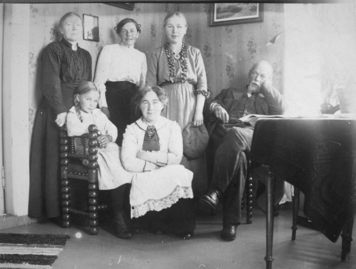"""""""Håheims. Neiden."""" Håheim-familien samlet. De fleste ukjent. Kvinnen i bakerste rad i midten er muligens Mally Håheim, resten av ungpikene kan være hennes søstre."""