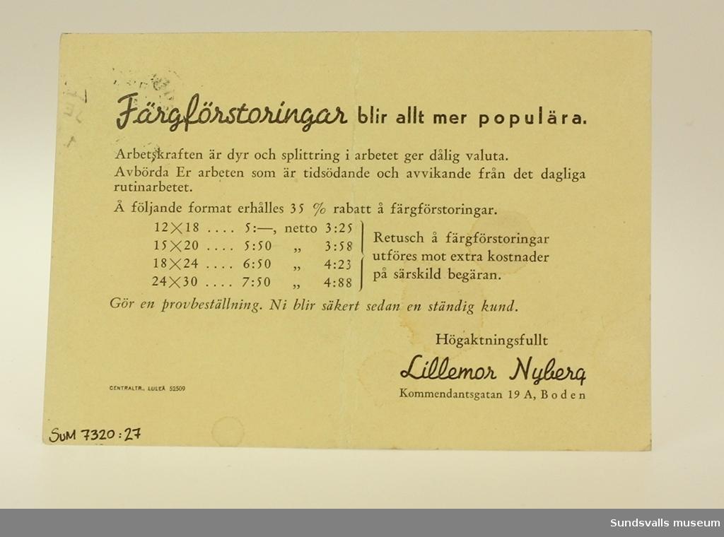 Reklamförsändelse adresserad till Fotoatelje Maria Kihlbaum från Boden ang. Färgförstoringar.
