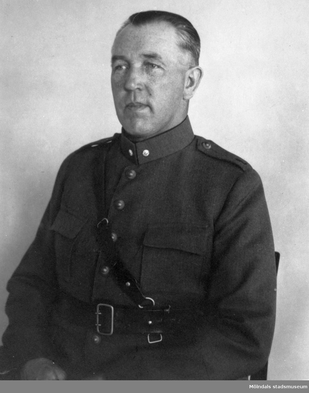 """Porträtt av """"Valle"""" Viktor Danielsson, 1920-30-tal. Han var anställd på Gunnebo slott."""