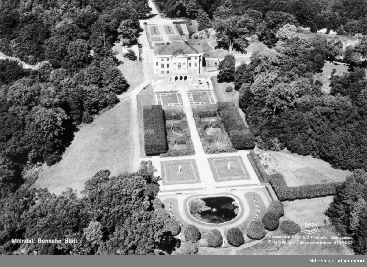 Flygfoto från söder på Gunnebo slott. Man ser trädgårdsdammen, södra trädgården, huvudbyggnaden och norra trädgården i bakgrunden. 1960-70-tal.