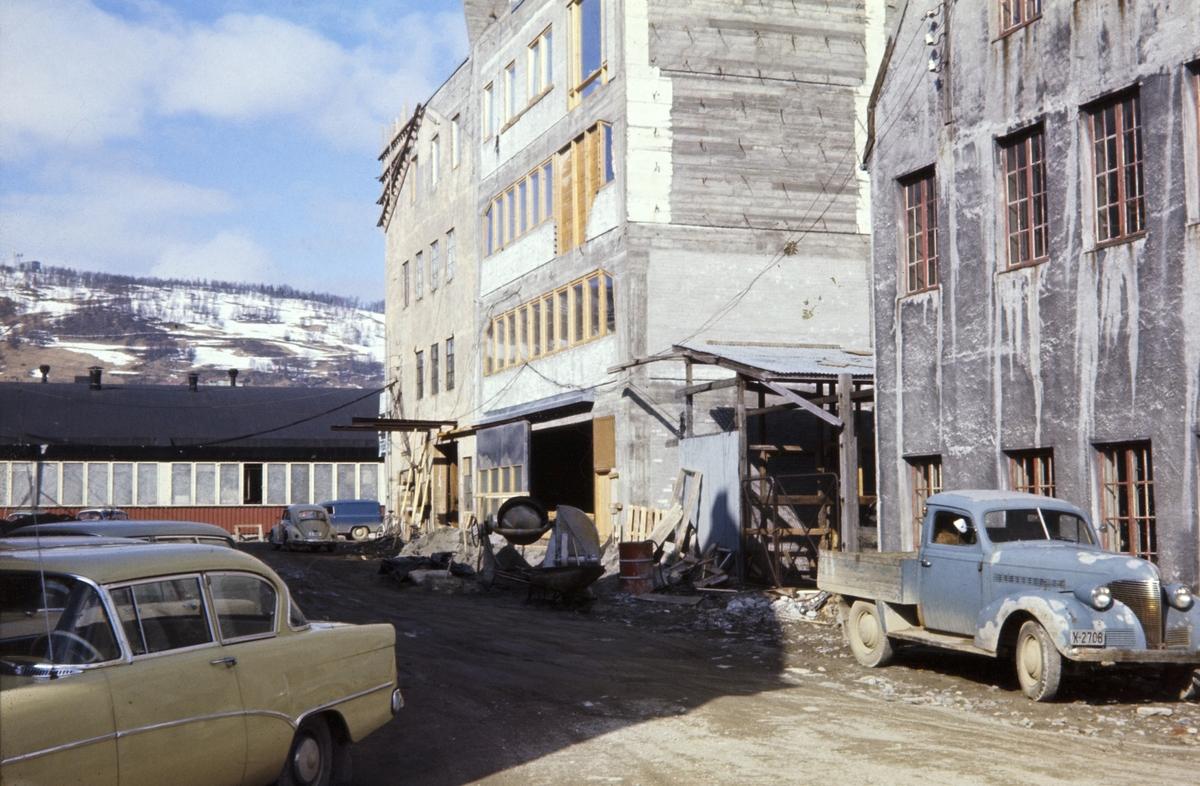Parti av uteområdet ved Bothnerbygget på Hamnneset. Parkerte biler i forgrunnen.