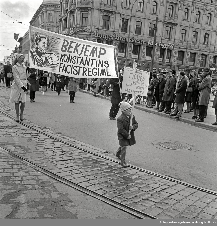 1. mai 1967 i Oslo.Parole: Bekjemp Konstantins facistregime