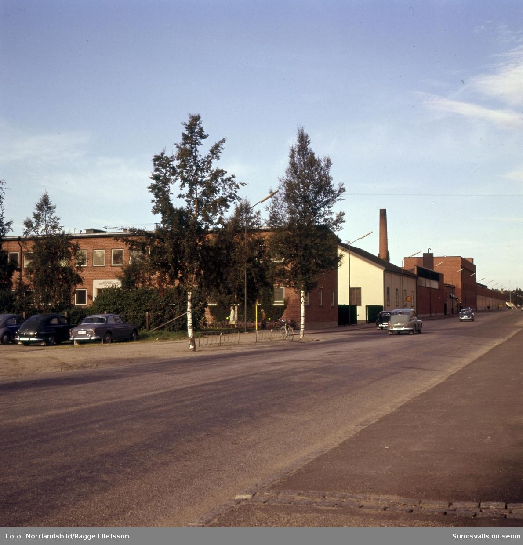 Sundsvalls verkstäder, exteriörbilder mot Fabriksgatan (Universitetsallén, 2015).