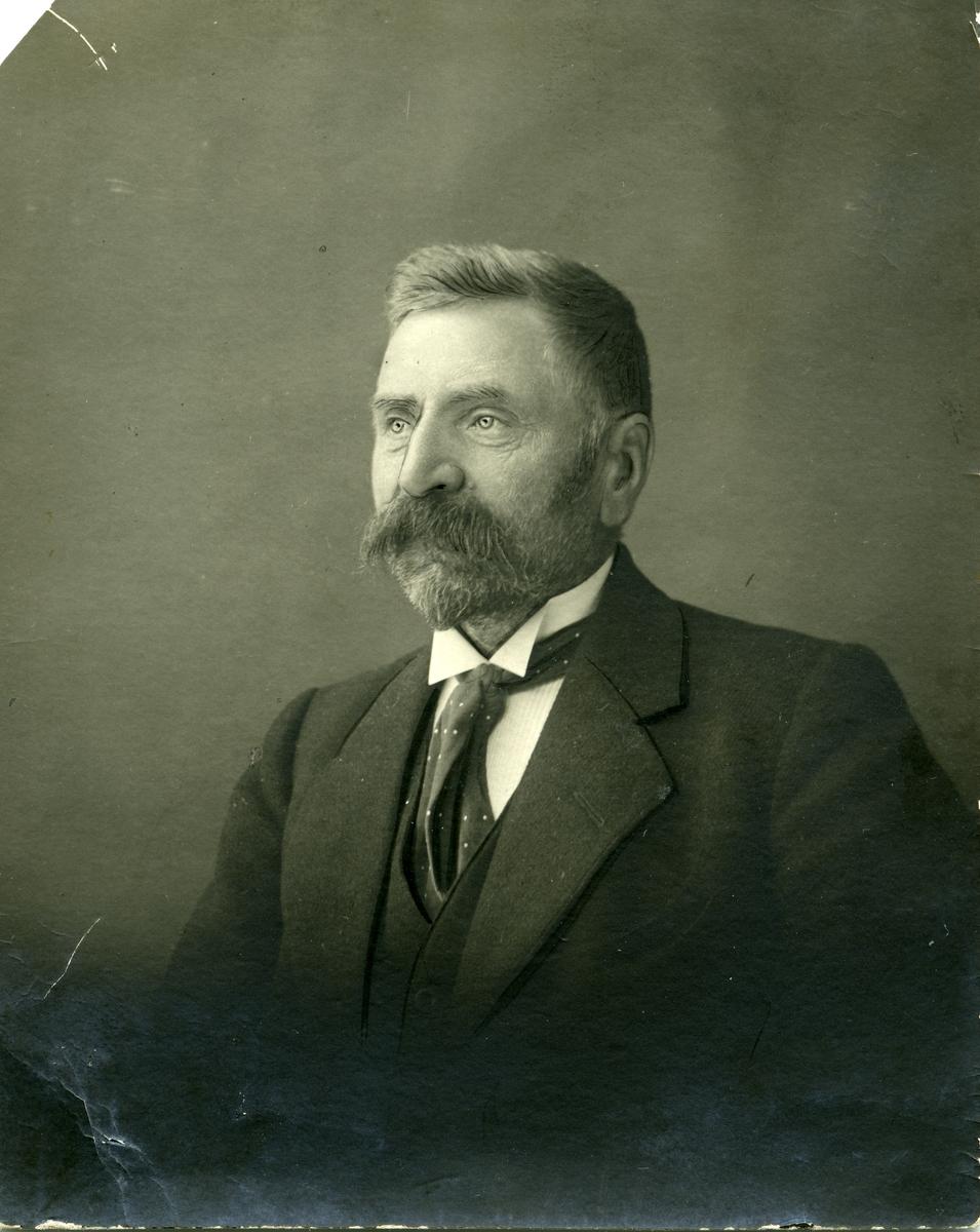 Portrett av en mann foran et lerret. Mannen er iført hvit skjorte og et prikkete tørkle i halsen og en mørk dress.