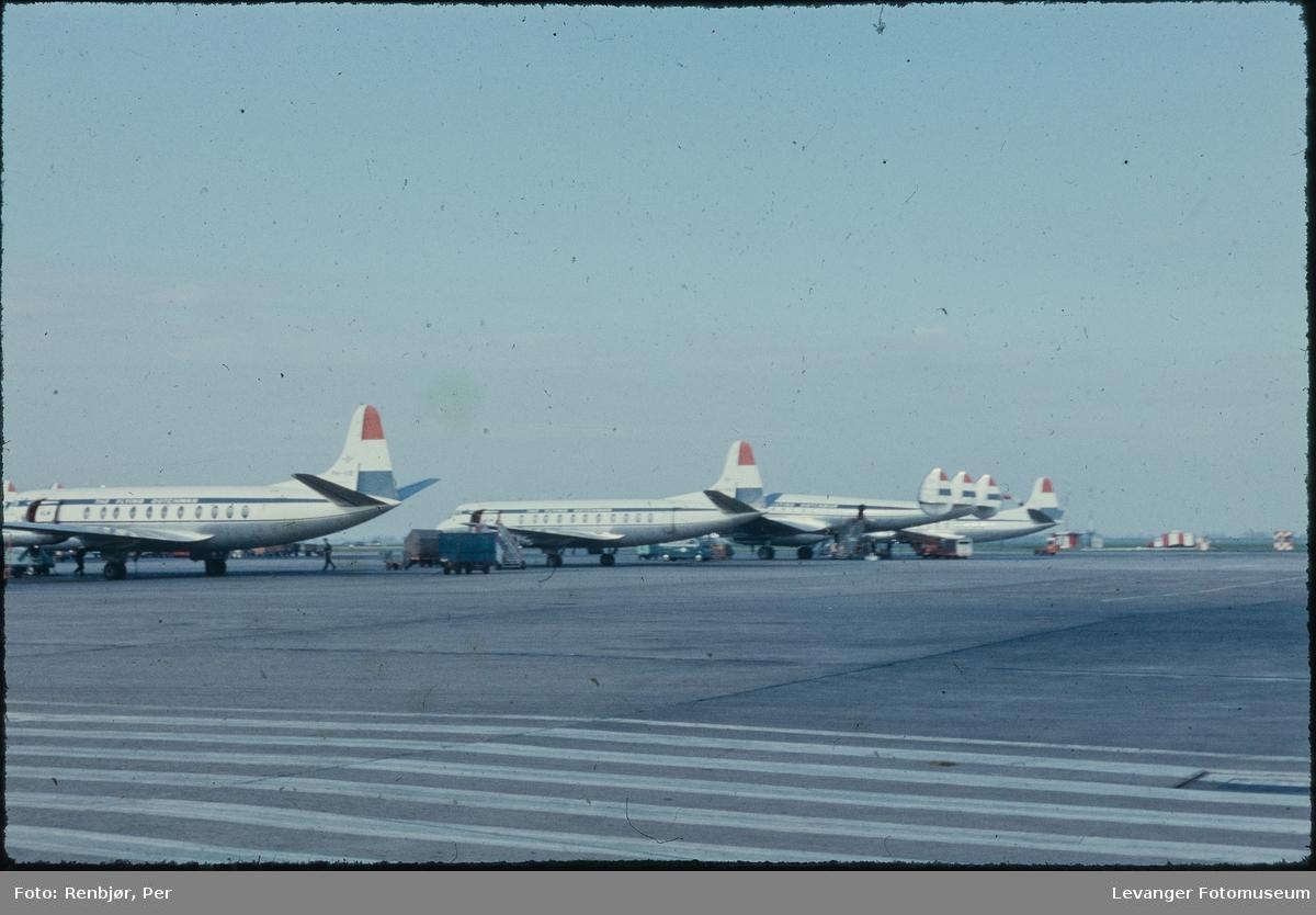 Fra flyplassen i Schipol Magnhild og Per Renbjør  til verdensutstillingen i  Brussel 1958.