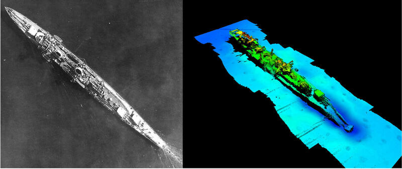 Flyfoto av Karlsruhe på sjøen og skjermdump fra 3D-modell av Karlsruhe på havbunnen, ved siden av hverandre. (Foto/Photo)