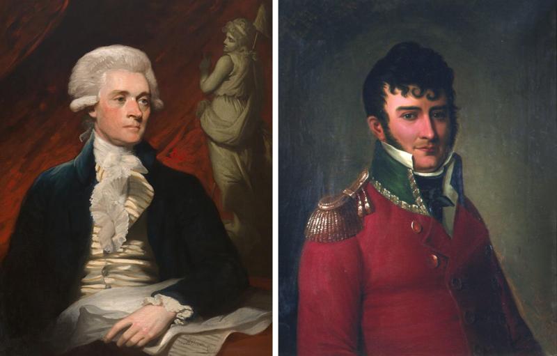 Thomas Jefferson (1743–1826) og Christian Magnus Falsen (1782-1830). Portretter malt av Mather Brown, 1786 (National Portrait Gallery, Smithsonian Institution) og av Christian Olsen, 1850-tallet (Eidsvoll 1814). (Foto/Photo)