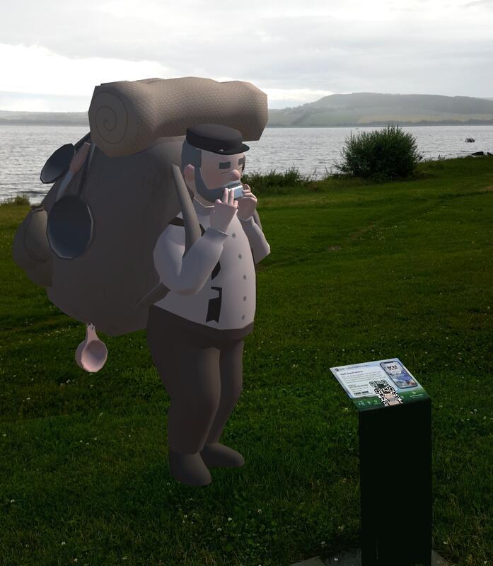 AR-skikkelser dukker opp rundt i museumsparken og vises på mobilskjermen til de som har lastet inn KUGO-appen. (Foto/Photo)