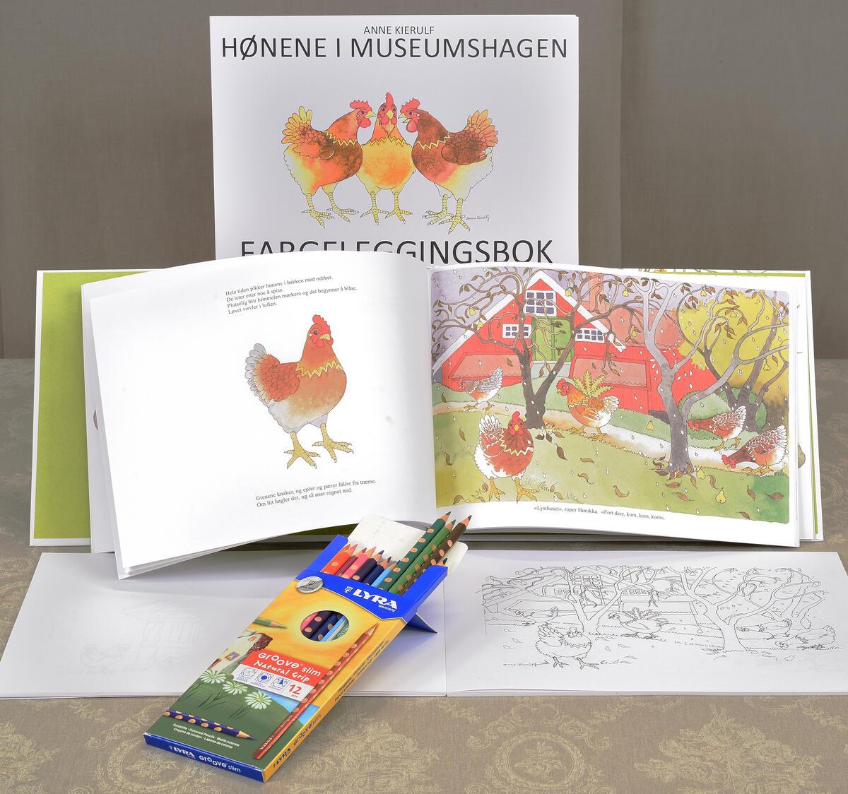 Anne Kierulfs vakre billedbok hvor hønene guider deg gjennom museumshagen kr. 200,- med tilhørende fargeleggingsbok kr. 100,- fargeblyanter fra Lyra kr. 129,- Kjøper du alle tre blir det kr. 300,- (Foto/Photo)