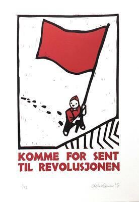 Komme for sent til revolusjonen, Andreas Brekke, Lino/boktrykk, 21x30cm, kr 1400,- (Foto/Photo)
