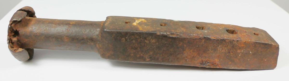 Rektangulær metalldel med fem hull i ulik størrelse, på den ene enden er det en rund del med et hode som er slått flatt.