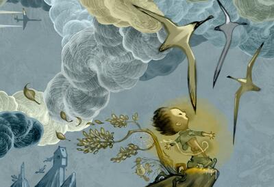 """Illustrasjon av Svein Nyhus til boken """"Steder å tisse"""": En gutt står og tisser i friluft, høyt på en klippe med måkene flyvende over seg.. Foto/Photo"""