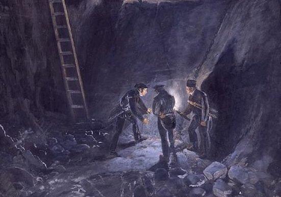 Fra Kongens gruve på Kongsberg, 1834. Foto/Photo