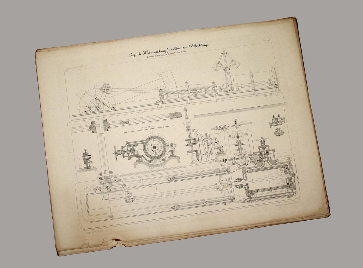 Ritningar till Ångmaskin. 20 stycken. Tillverkade 1876.  Förvaras inom pappersomslag med linjerad ram och tryckt text: CONSTRUCTIONEN AUS DEM MASCHINENBAU VORTRÄGEN DES HERRN PROF. HART  DAMPFKESSEL DAMPFMASCHINEN  CARLSRUHE. DRUCK UND VERLA, VON J. VEITH 1876  På omslaget, längst ner till höger, handskriven text: Gåva fr. Tekn. Skolan 1954.  Funktion: Ritningar till ångmaskin