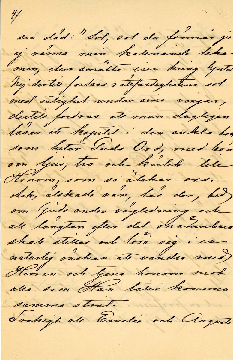 Brev skrivet 1890-07-16 av Fredrique Hammarstedt till vännen Agneta Swan. Brevet består av tio sidor text skrivna på tre pappersark. Brevet hittades i ett adresserat kuvertet. Handskrivet i svart bläck.
