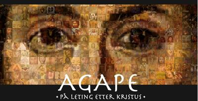 Bildecollage av mange religiøse portretter danner nærbilde av Jesu øyne og neserygg.. Foto/Photo