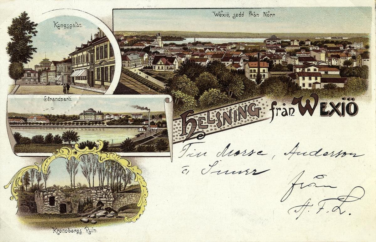 Färglitograferat vykort med flera småbilder från Växjö med omnejd, 1901.