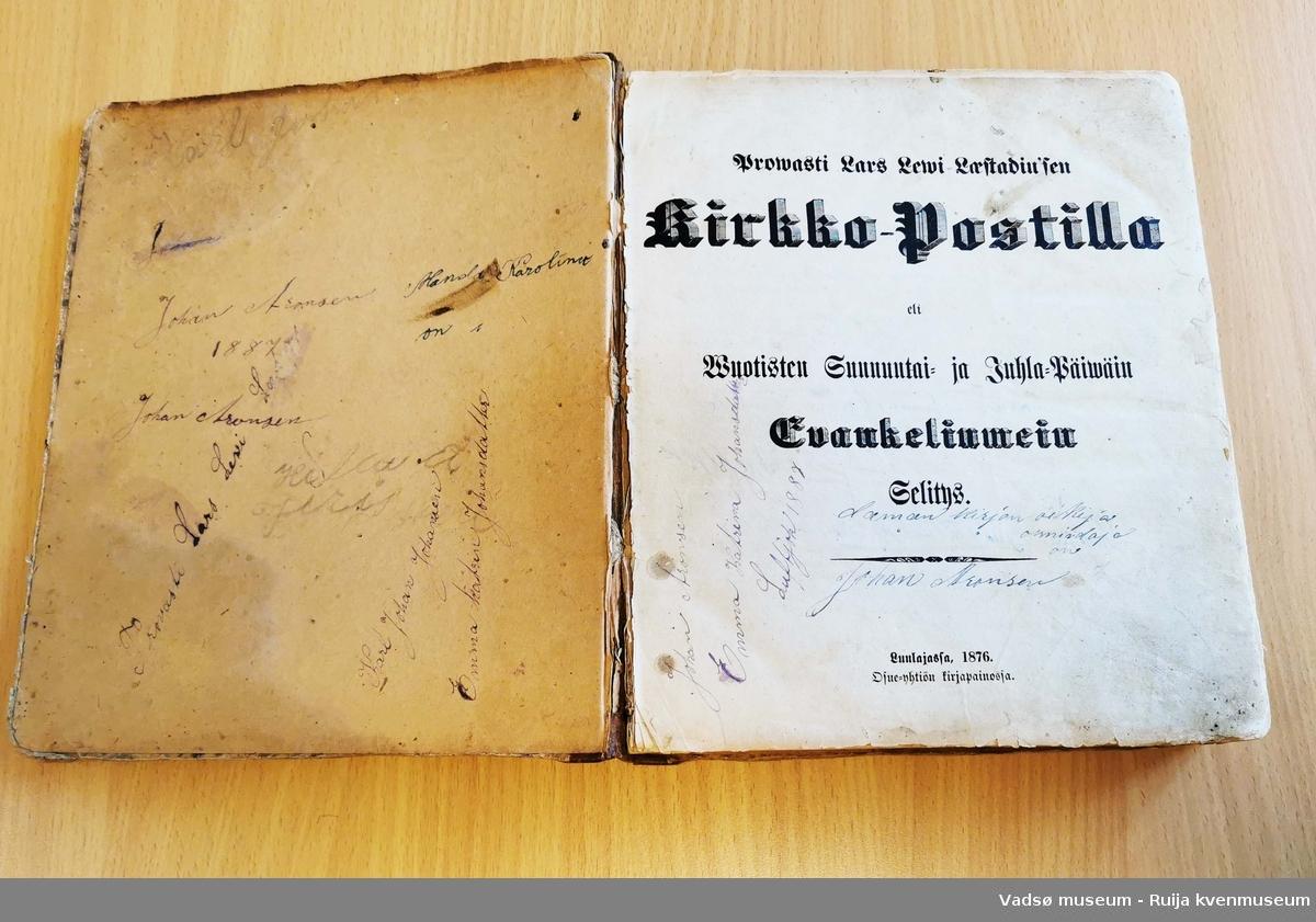 Skinninnbundet postill. Familienavn på første og siste sidene. Skjør forfatning