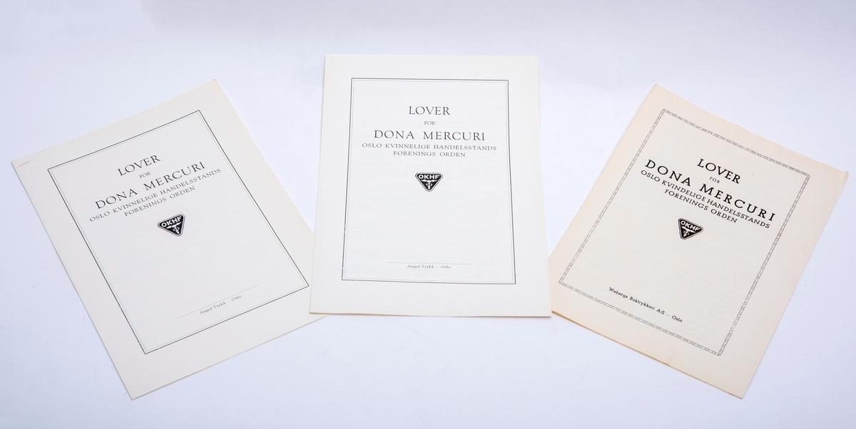 Tre trykte hefter med Dona Mercuris lover. To ulike utgaver.