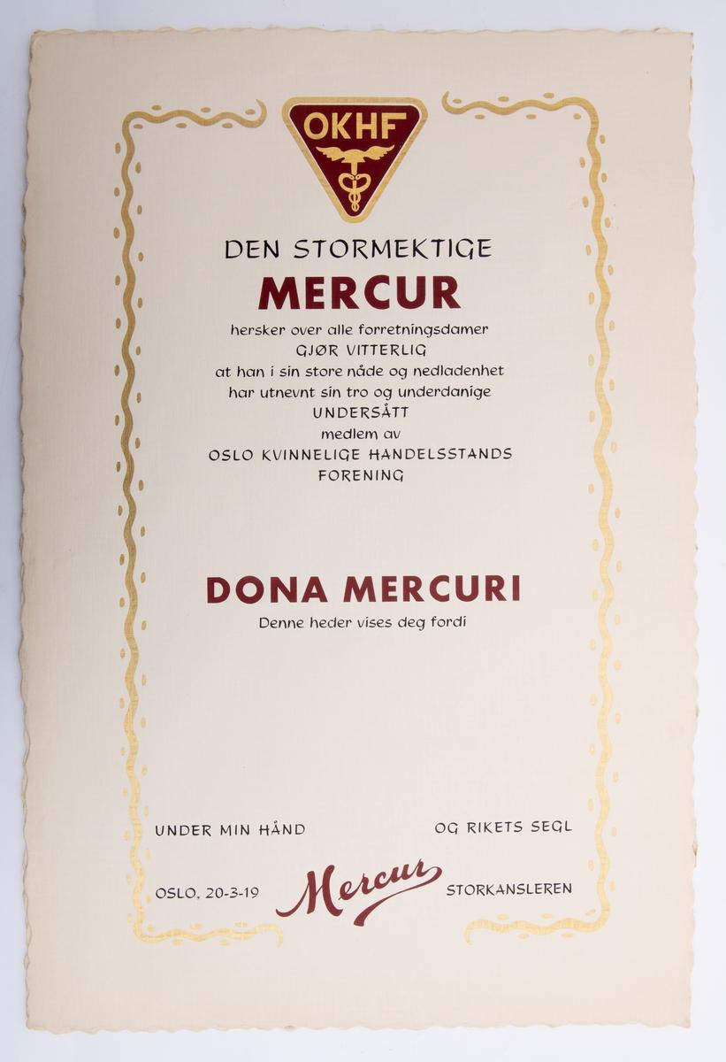 Ferdig trykte diplomer til utmerkelser i Dona Mercuri, uutfylte.