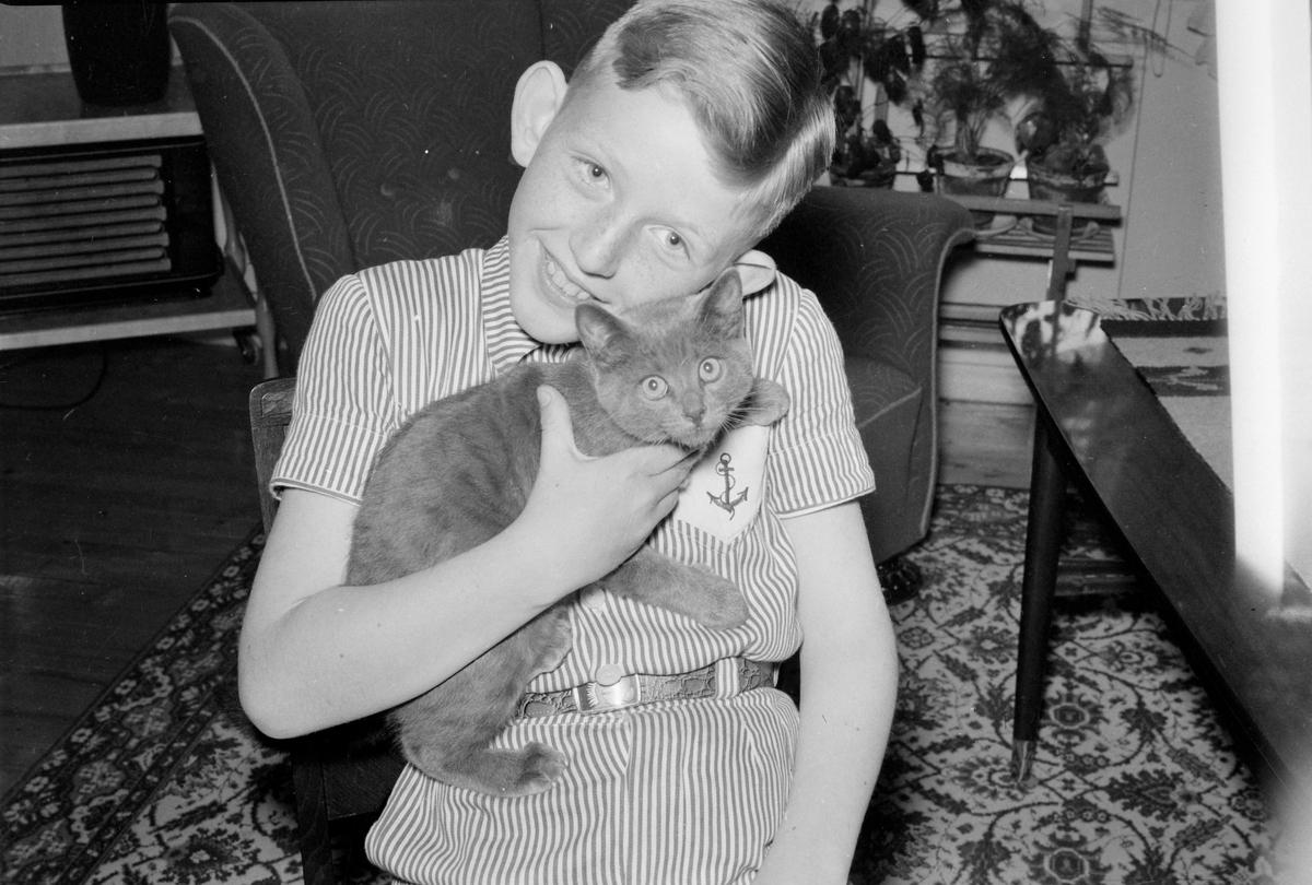 Gutt med kattunge