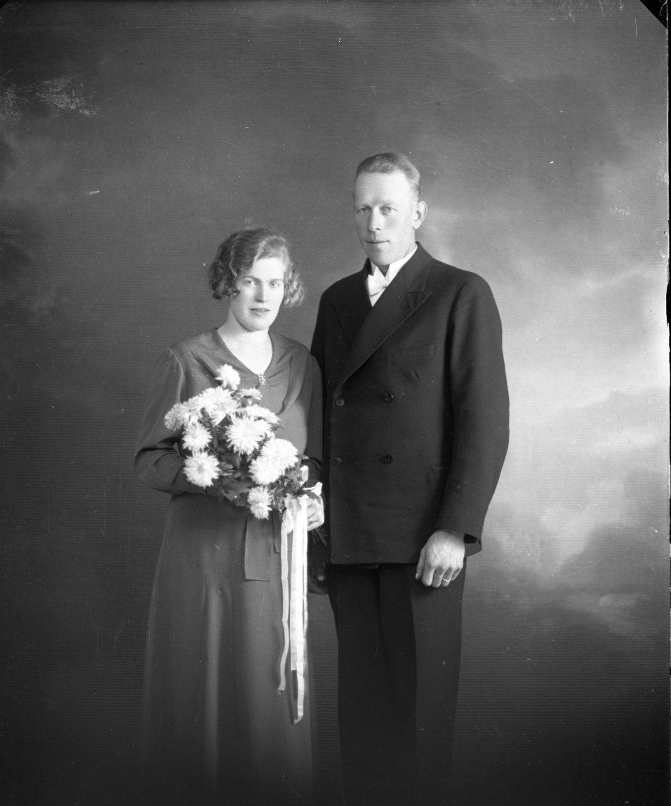 Ett brudpar. Vilford Johansson från Jönköping och Elna Nilsson från Gunneryd.