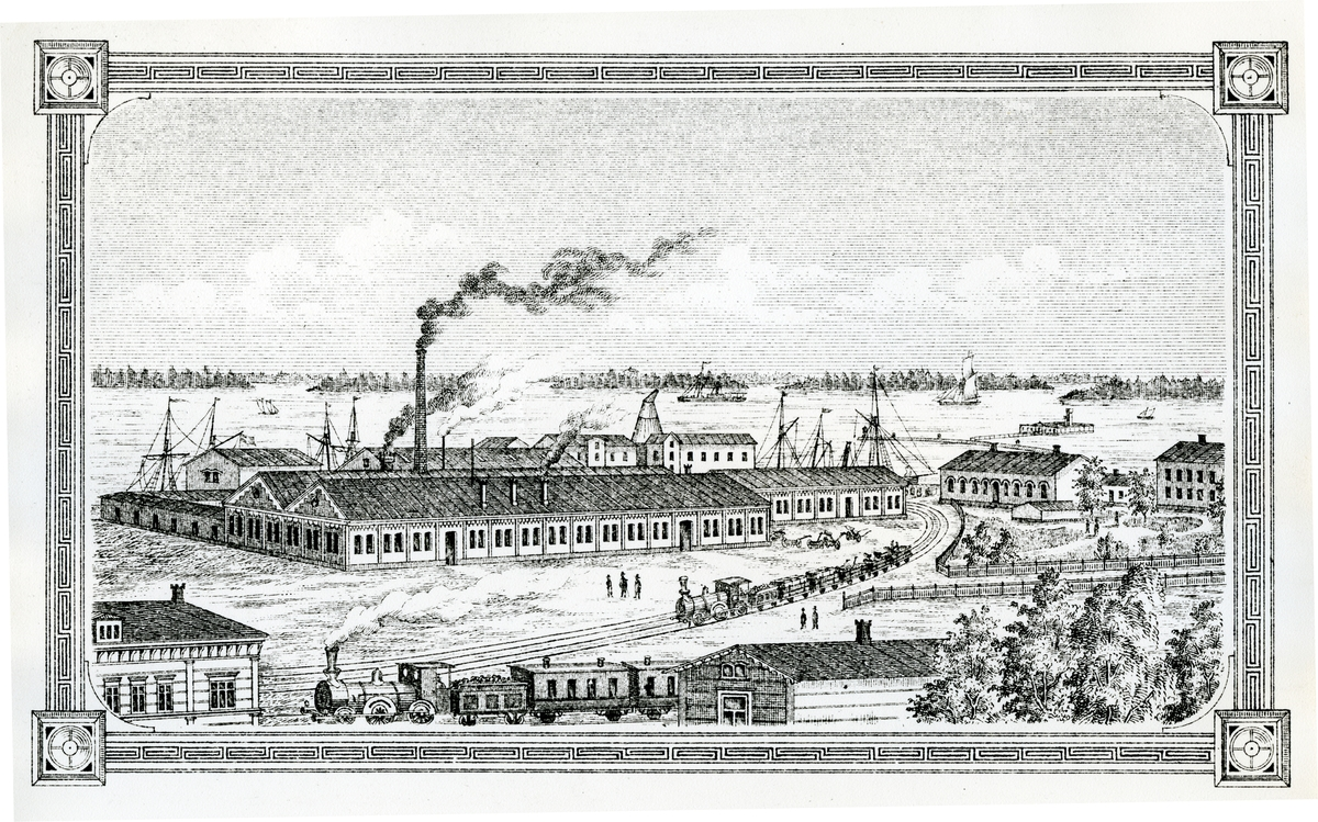 Västerås, Munkängen. Gamla hamnen och Westerås Mekaniska Werkstad, c:a 1890.