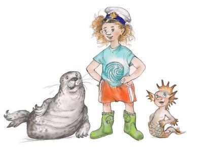 Tegning av en grå sel, en jente med støvler, t-skjorte, shorts, stort bustete hår og kapteinslue og en marmæle, en marmælen er en havmann, og mest av alt lignet han på en litt stor gutt, men med fiskehale.. Foto/Photo