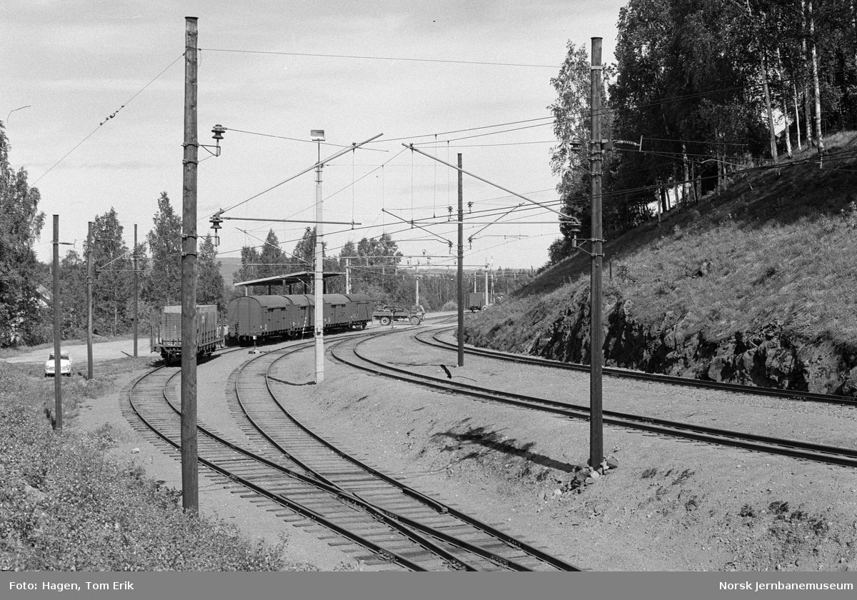 Godsvogner litra G4 på sidesporet ved Nygard stasjon