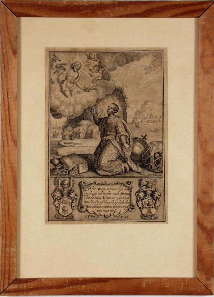 Allegorisk motiv med knelende kvinne og Kristus. Salmevers med tysk tekst og to våpenskjold på siden.