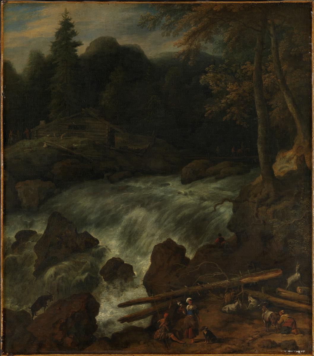 Foss mellom fjell [Maleri]