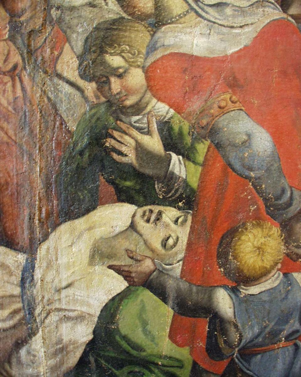 Kvinner og barn, to døde kvinner og ridende soldater.