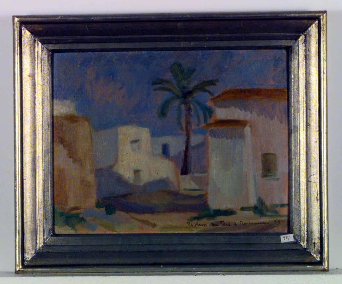 Hus og palme på Ibiza.