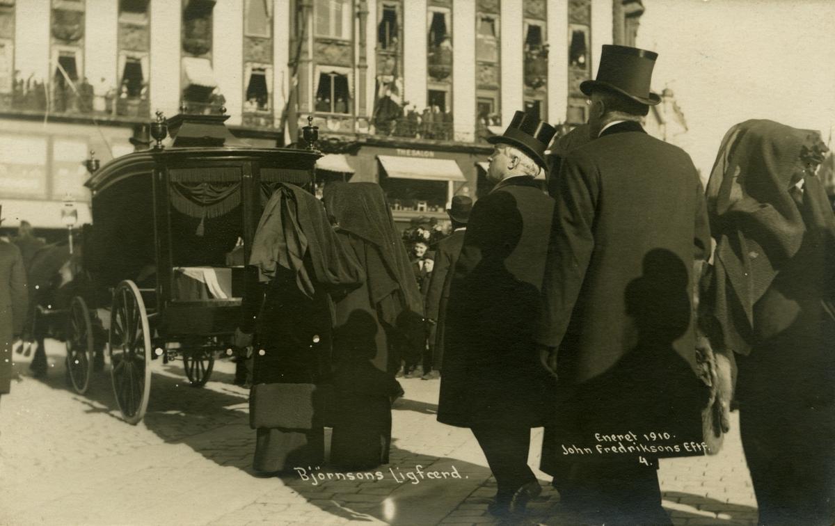 Postkort, Kristiania, Bjørnsons begravelse, likferd,
