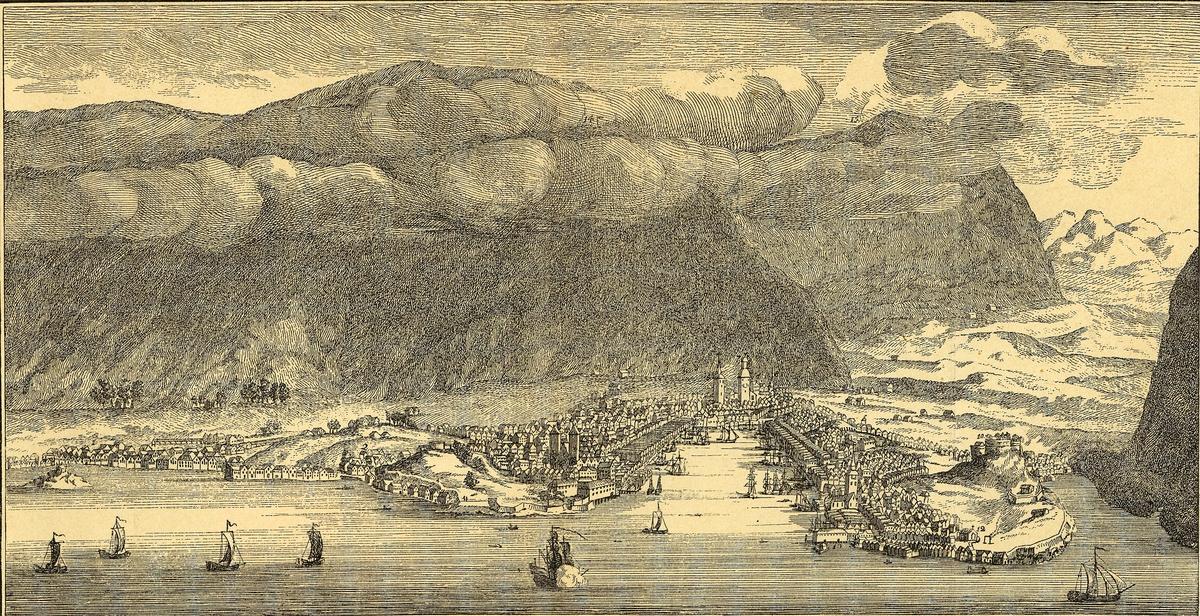 tegning, kobbestikk (kopi), norgesbilder, bybilder, Bergen sett fra sjøsiden, båter på Vågen