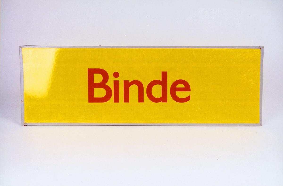 Postmuseet, gjenstander, skilt, stedskilt, stedsnavn, Binde.