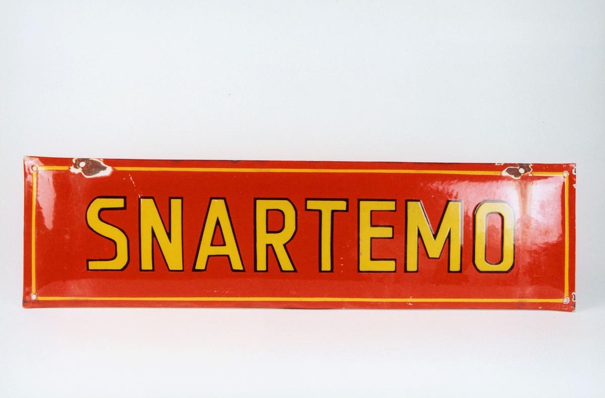 Postmuseet, gjenstander, skilt, stedskilt, stedsnavn, Snartemo.