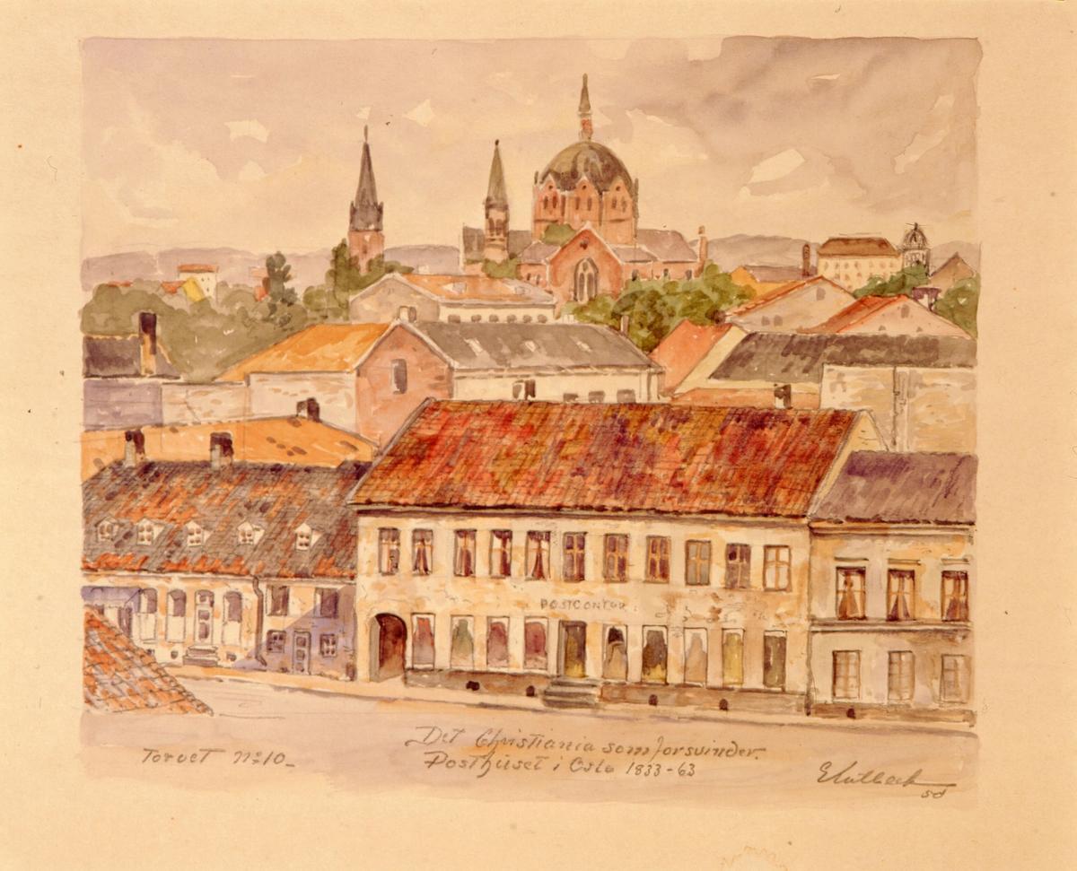 """postmuseet, kunst, akvareller, G. Kulbeck: """"Det Christiania som forsvinder, Torvet no. 10"""", eksteriør, Posthuset i Oslo 1833-63, motivet finnes også på CD-rom PRO1, bilde nr 96"""