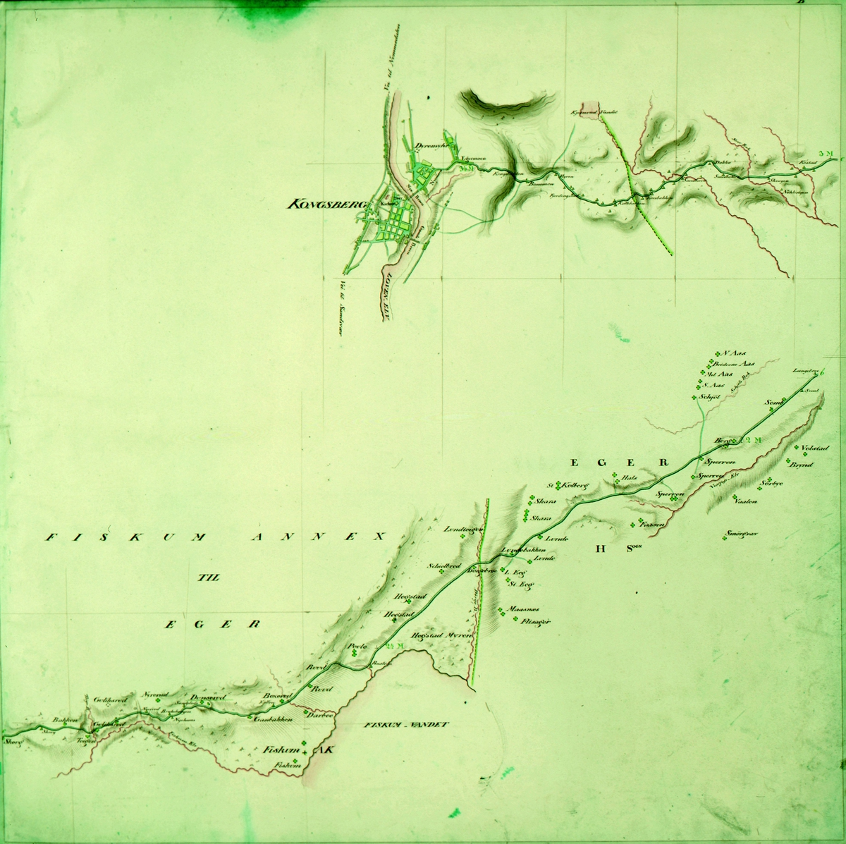 kart, postkart, kart over postveien fra Drammen til Kongsberg Opmaalt i Aaret 1822 ved J.H. Reichborn, del 2: Langebroe til Kongsberg
