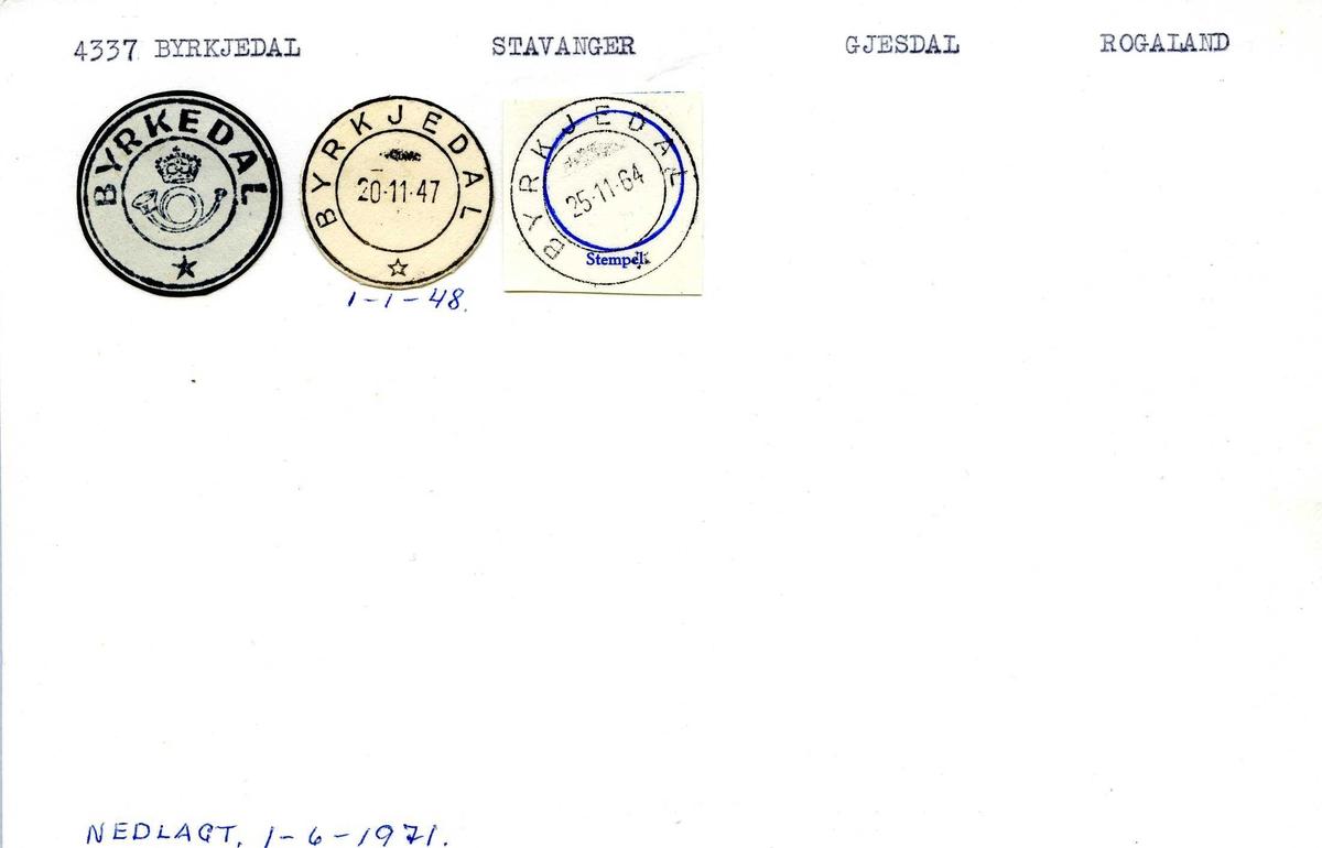 Stempelkatalog, 4337 Byrkjedal. Stavanger postkontor. Gjesdal kommune. Rogaland fylke.