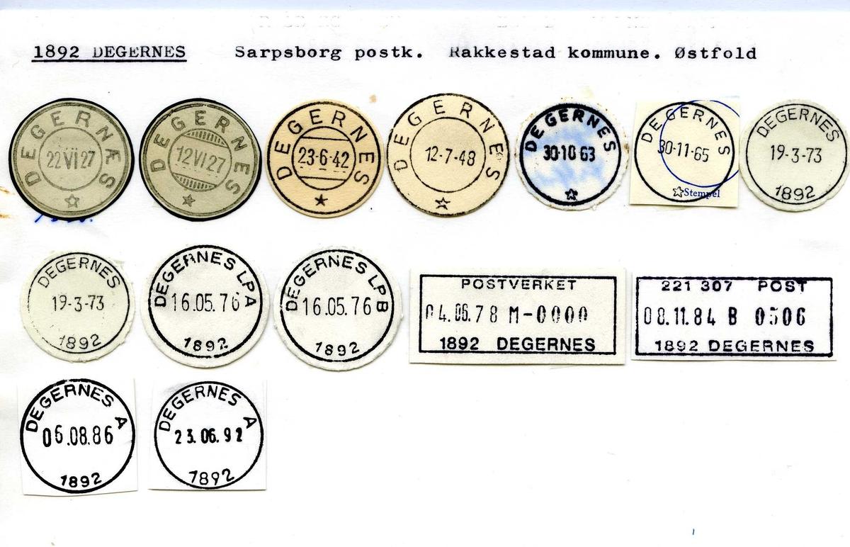 Stempelkatalog, 1892 Degernes, Sarpsborg postkontor, Rakkestad kommune, Østfold fylke.