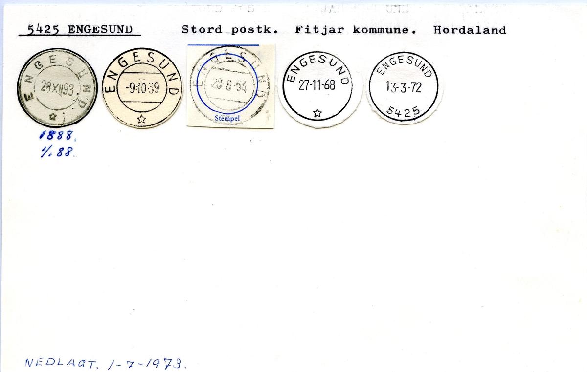 Stempelkatalog, 5425 Engesund, Stord, Fitjar, Hordaland