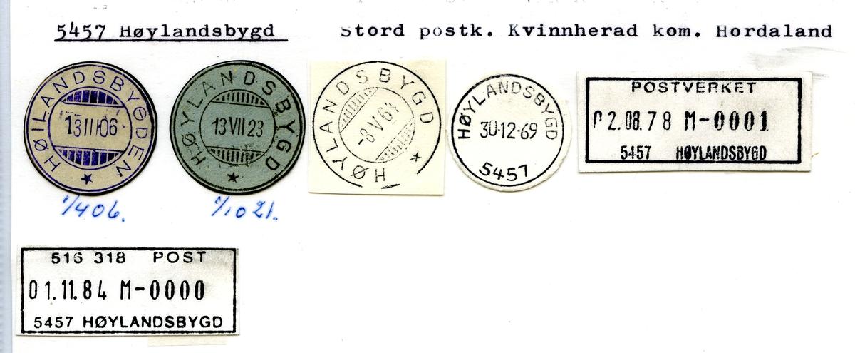 Stempelkatalog. 5457 Høylandsbygd. Stord postkontor. Kvinnherad kommune. Hordaland fylke.