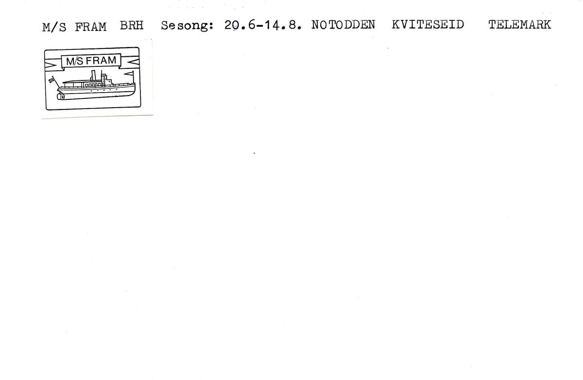 """Stempelkatalog. Ambulerende brevhus båt, M/S """" Fram""""."""