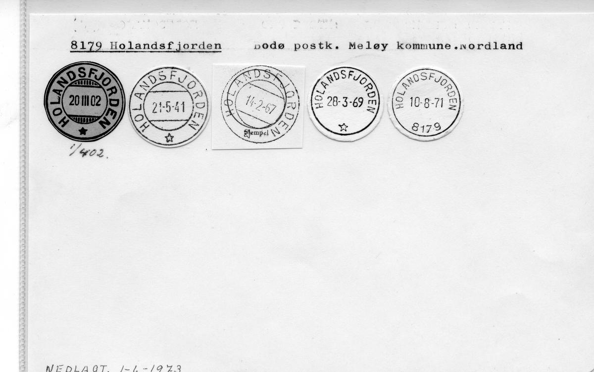Stempelkatalog. 8179 Holandsfjorden. Bodø postkontor. Meløy kommune. Nordland fylke.