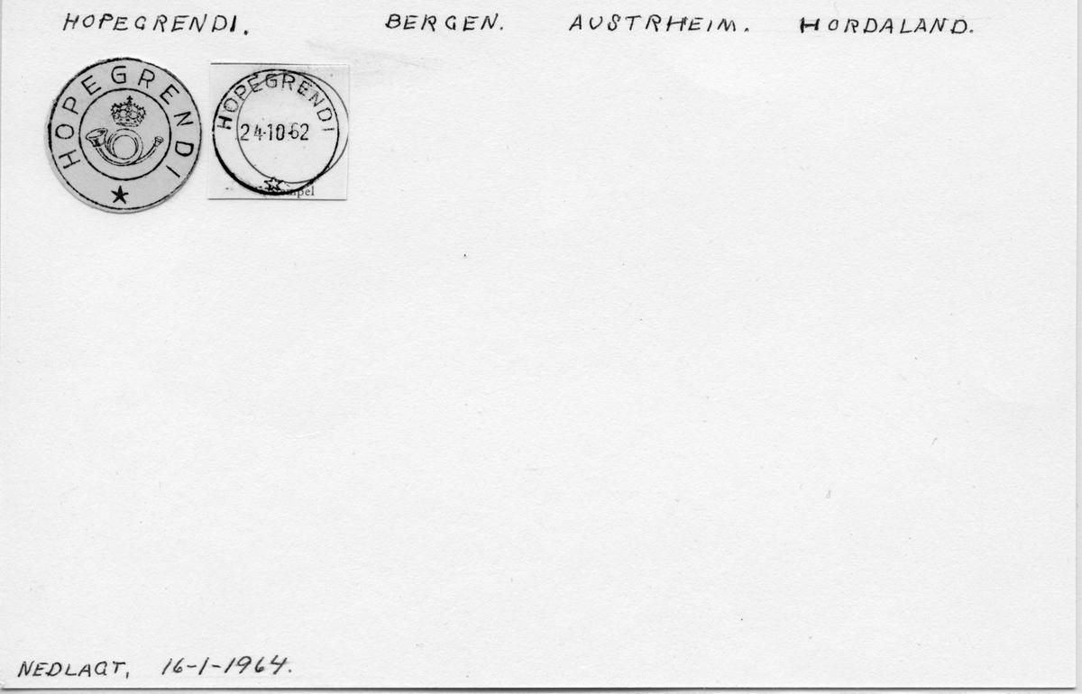 Stempelkatalog. Hopegrendi. Bergen postkontro. Austrheim kommune. Hordaland fylke.