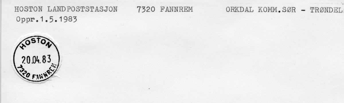 Stempelkatalog. 7334 Hoston, Orkanger postk., Orkdal kommune, Sør-Trøndelag. (Nedl. 1.5.1983. Hoston landpoststasjon, 7320 Fannrem oppr. 1.5.1983)