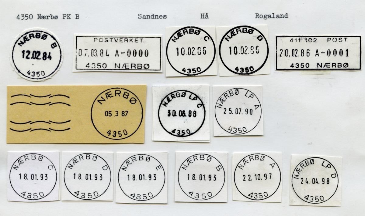 Stempelkatalog. 4350 Nærbø. Stavanger postkontor. Hå kommune. Rogaland fylke.